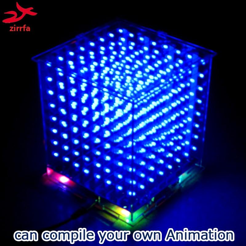 Zirrfa Novo 3D8 mini led cubeeds com excelentes animações/display 3D 8 8x8x8, divertido Kit DIY Eletrônico