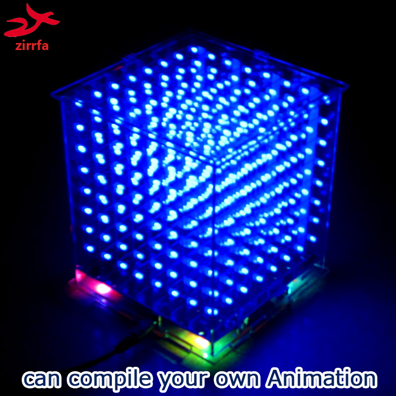 zirrfa New 3D8 mini led cubeeds with excellent animations /3D display 8 8x8x8 ,fun Electronic DIY Kit-in Integrated Circuits from Electronic Components & Supplies