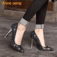 women pumps High thin heel bling Bridal wedding shoes