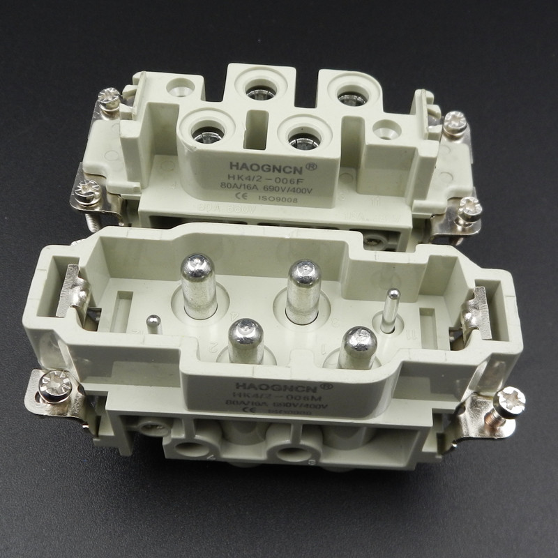 HDC-HK-4/2-006M/F Heavy Load Connector Within Core Socket Plug 6 Core 80A/16A Will Electric Current heavy duty connectors hdc he 024 1 f m 24pin industrial rectangular aviation connector plug 16a 500v
