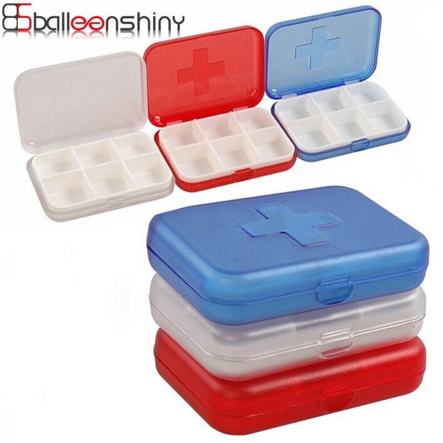 BalleenShiny Mini 6 Slot Pill Storage Box Translucent Medicine Box