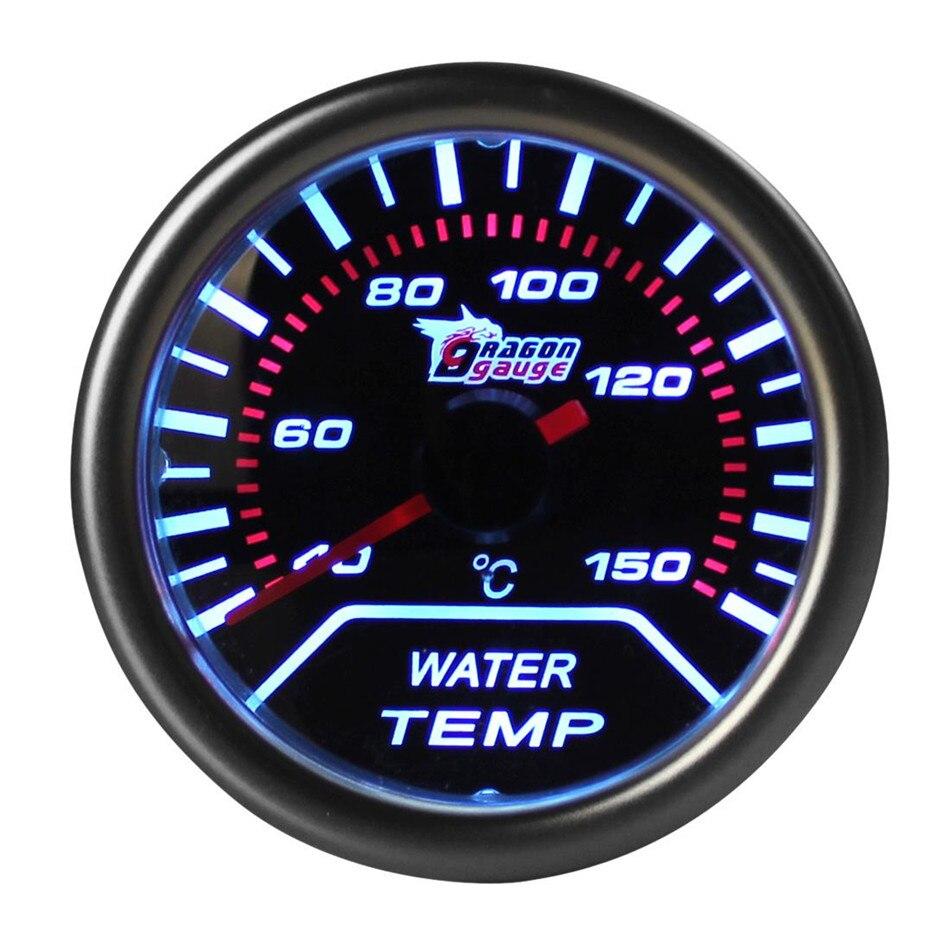 DRAGON GAUGE Sale DC 12V 2 52mm Car Universal Smoke Len LED Water Temperature Gauge Meter for Cars