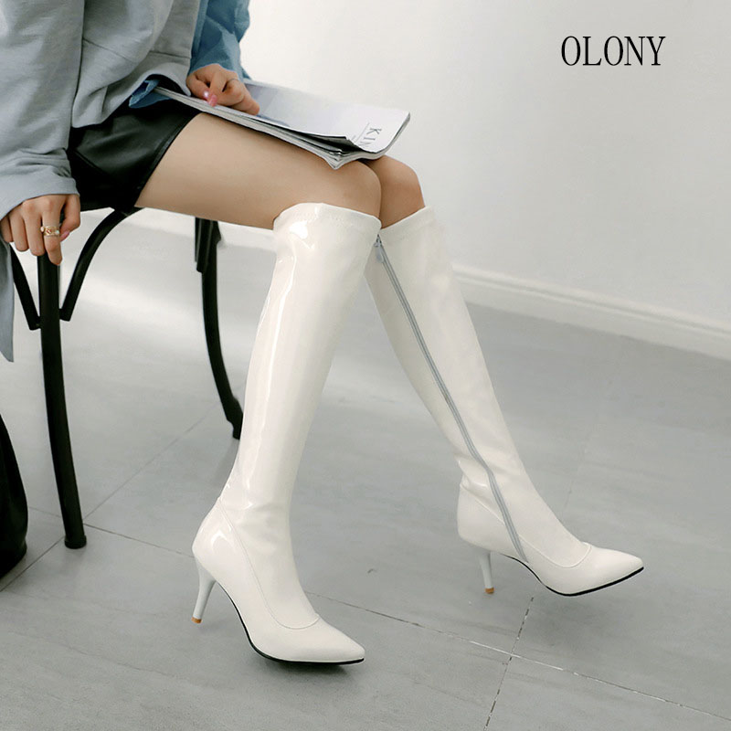 Image 5 - 2018 European and American Fashion womens Long Boots Super High Heel Side Zipper Knee Boots Female Nightclub Banquet High HeelsKnee-High Boots   -