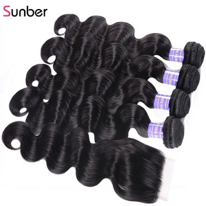 Image 3 - Sunber שיער ברזילאי גוף גל עם סגירת גבוהה יחס 100% אדם רמי הארכת שיער חבילות עם סגירה