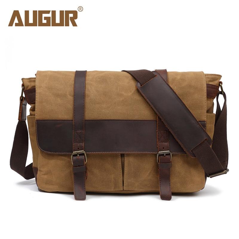 AUGUR New Men Shoulder Bag Wax Canvas Waterproof Crossbody Bags For Men's High Quality Business Messenger Bag Retro Satchel Man