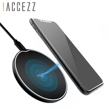 !ACCEZZ Qi Wireless Charger For IPhone XS MAX XR Charging Station 5W 10W Samsung S9 S8 PlusUltra-thin Round Charge