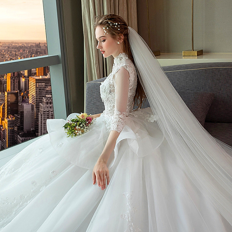 1502551f0cd5b 1-9 Month Luxury Pregnancy Maternity Wedding Dress Retro Stand Collar High  Waist Long Tail Plus Size Pregnant Women Wedding Gown