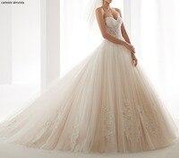 Романтические тюль милые свадебные платья 2019 кружева свадебное платье с аппликациеми Часовня Поезд роскошный халат