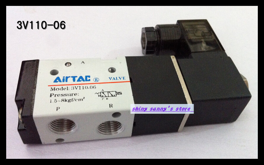 1Pcs 3V110-06 AC220V 3Port 2Position 1/8 BSP Single Solenoid Pneumatic Air Valve Brand New 1pcs 4v110 06 ac220v lamp solenoid air valve 5port 2position bsp