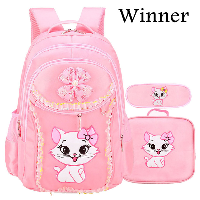 afc1b31d32f1 3PCS New Girl s School Bags Cartoon Princess Cat Pussy Kitty Kid Backpack  Children School Backpack Primary Student Book Bag Pink