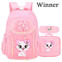 3PCS New Girl's School Bags Cartoon Princess Cat Pussy Kitty Kid Backpack Children School Backpack Primary Student Book Bag Pink