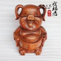 Lucky трава груша резьба по дереву ремесла бутик красный свинья Wenwan Зодиак животных творческий домашнего интерьера украшения