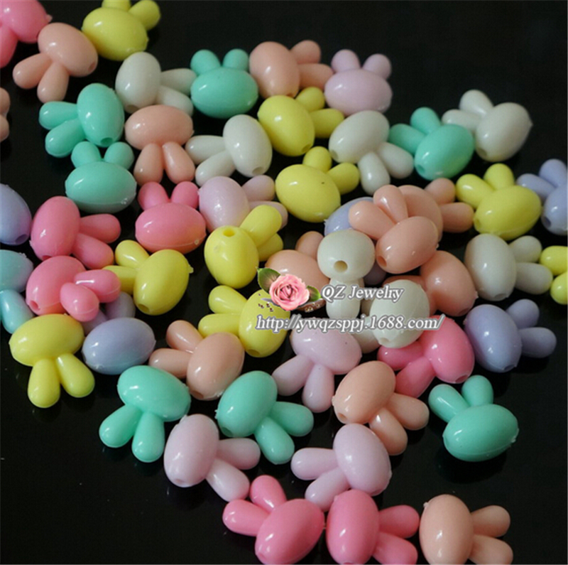 Popular Kids Acrylic Beads Cute Rabbit Shape Bracelet Necklace Crafts Jewery Findings Mixed Color 13x16mm Hole Size:2mm 50Pc/Set