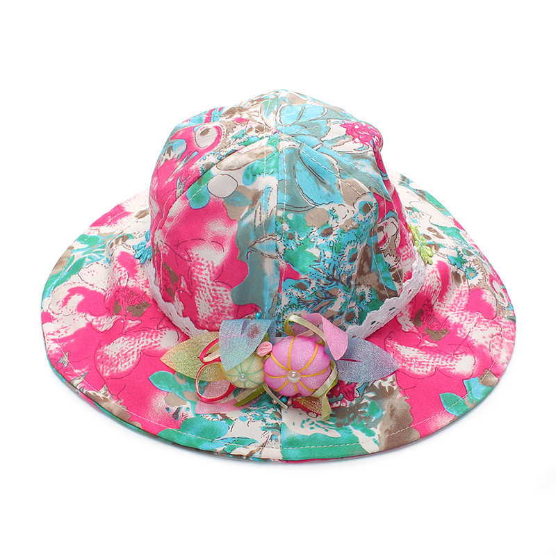 fbaea92d029 ... Flower Baby Girls Hats Cotton Baby Caps With Bow Kids Sun Cap Floral Bucket  Hat Spring