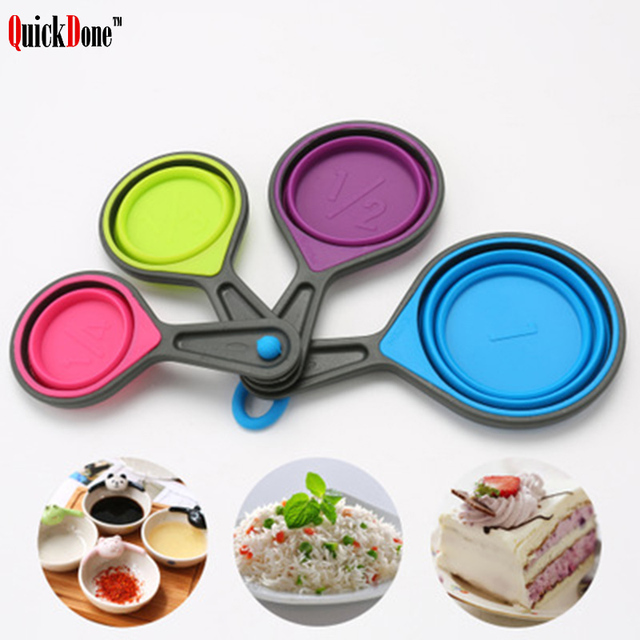 QuickDone 4pcs Silicone Measuring Cups Collapsible Foldable Portable Spoon  Flexible Cup Measurement Set AKC5110
