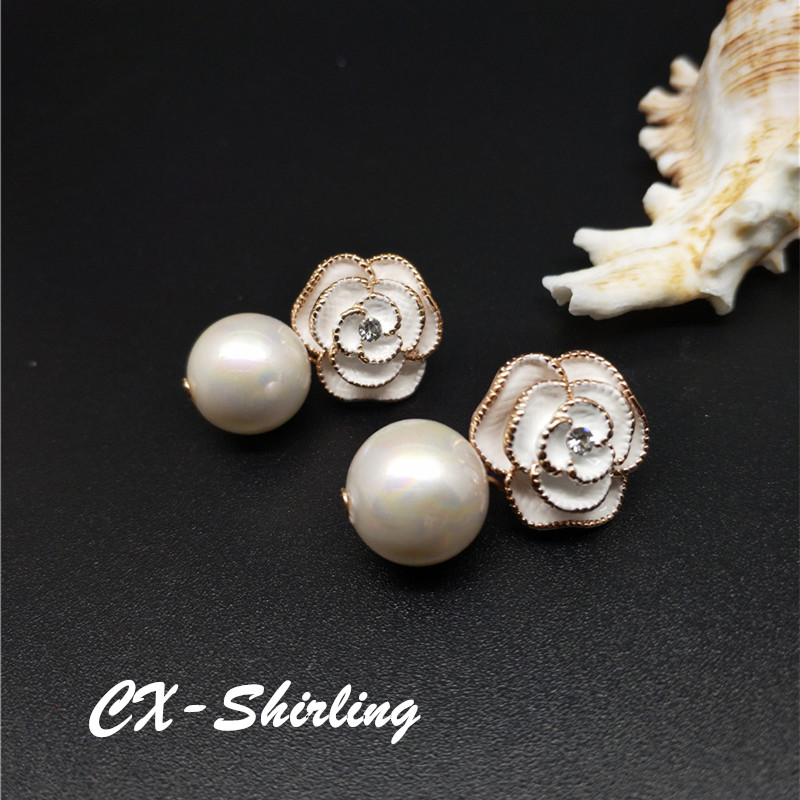 CX-Shirling Women Camellia Earring Real Rose Gold Anti-Allergy Pearl Pendant cc Earring Female Party Earring Fine Pearl Jewelry