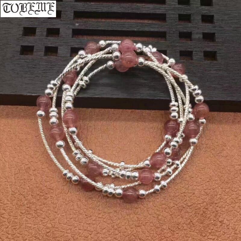 Bracelet de perles en argent fait à la main 925 Bracelet de bohême en argent pour femmes Bracelet en argent 5 cercles
