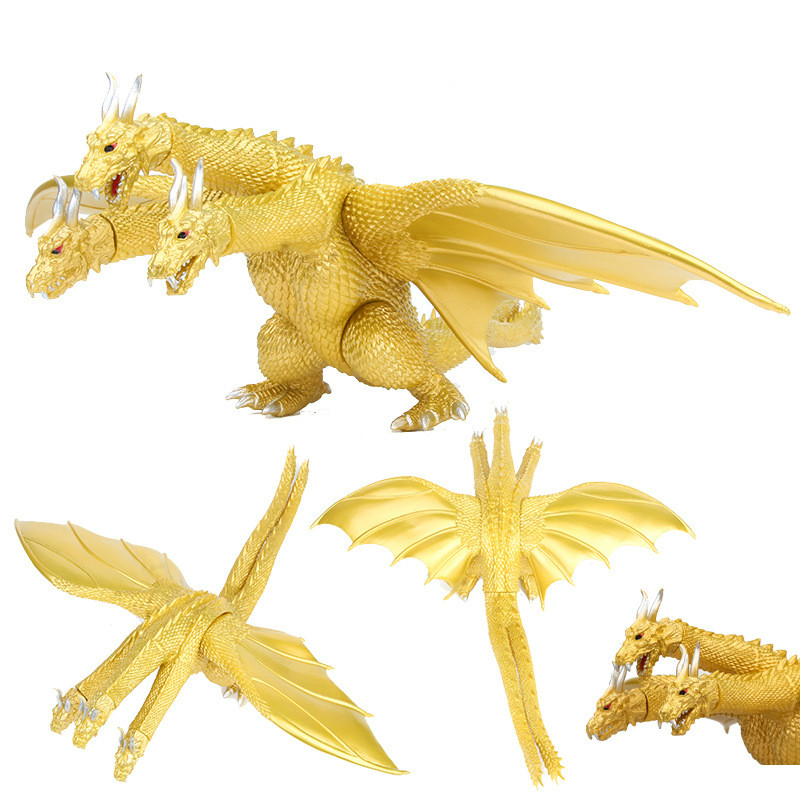 Three Head Golden Dragon King Ghidorah 22-24cm Action Figures Toys Brinquedo Toy Collectible Model Toys #1468
