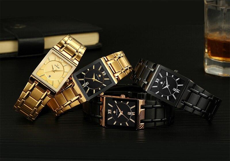 Relojes de marca de lujo dorado para hombre, relojes de negocios, relojes cuadrados militares de cuarzo para hombre, relojes de pulsera informales con correa de acero inoxidable, regalo - 6