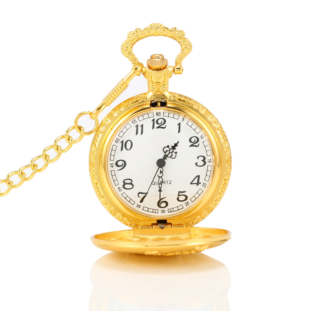 Gold Pocket Watch Animal Elk Deer Quartz Mechanical Watch Pendant Necklace Chain Clock Gifts LXH unique smooth case pocket watch mechanical automatic watches with pendant chain necklace men women gift relogio de bolso