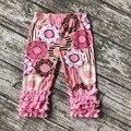 Nueva llegada de la primavera Verano de los bebés trajes capris ruffles pink Donut imprimir algodón boutique de ropa kids wear conjunto lindo