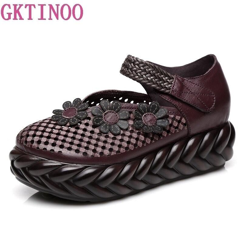 GKTINOO 2019 Primavera Artesanal de Sapatos de Plataforma Cunhas Mulheres Bombas Flor Cortar Couro Genuíno Das Mulheres Casuais Sapatos de Salto Alto