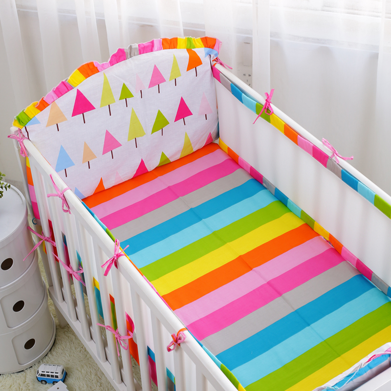 Free Shipping 5Pcs Crib Bed Linen Kit Summer 3D Mesh Cotton Baby Bedding Set Includes Bumpers Sheet Baby Cot Bedding Bumper Set