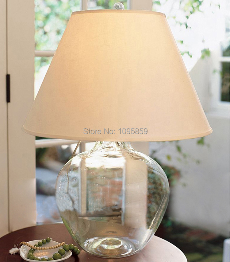 Modern Glass Vase Bedroom Table Lamp White Shade Dining