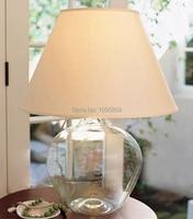 Modern Glass Vase Bedroom Table Lamp White Shade Dining Room Restaurant Glass Table Light Lmpara de vidrio para jarrones