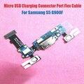 100% porta usb original bordo carga fpc carregamento flex cabo com botão de toque sensor de microfone para samsung s5 g900f freeshipping