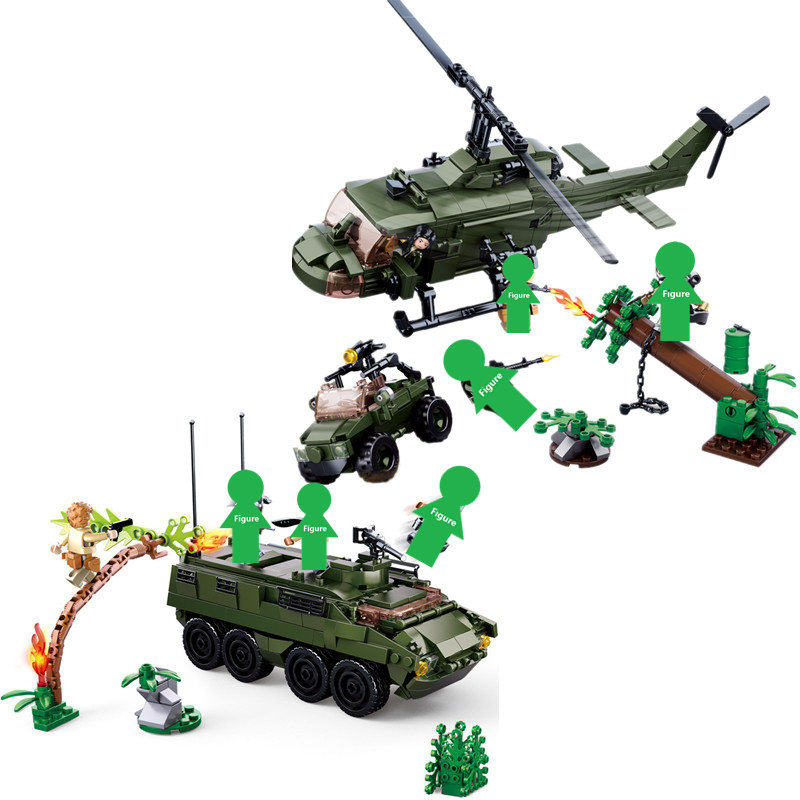 2019 NEW SLUBAN Alien Predators M18 Armored Tank Vehicle Helicopter Building Block Sets Movie Classic Kids