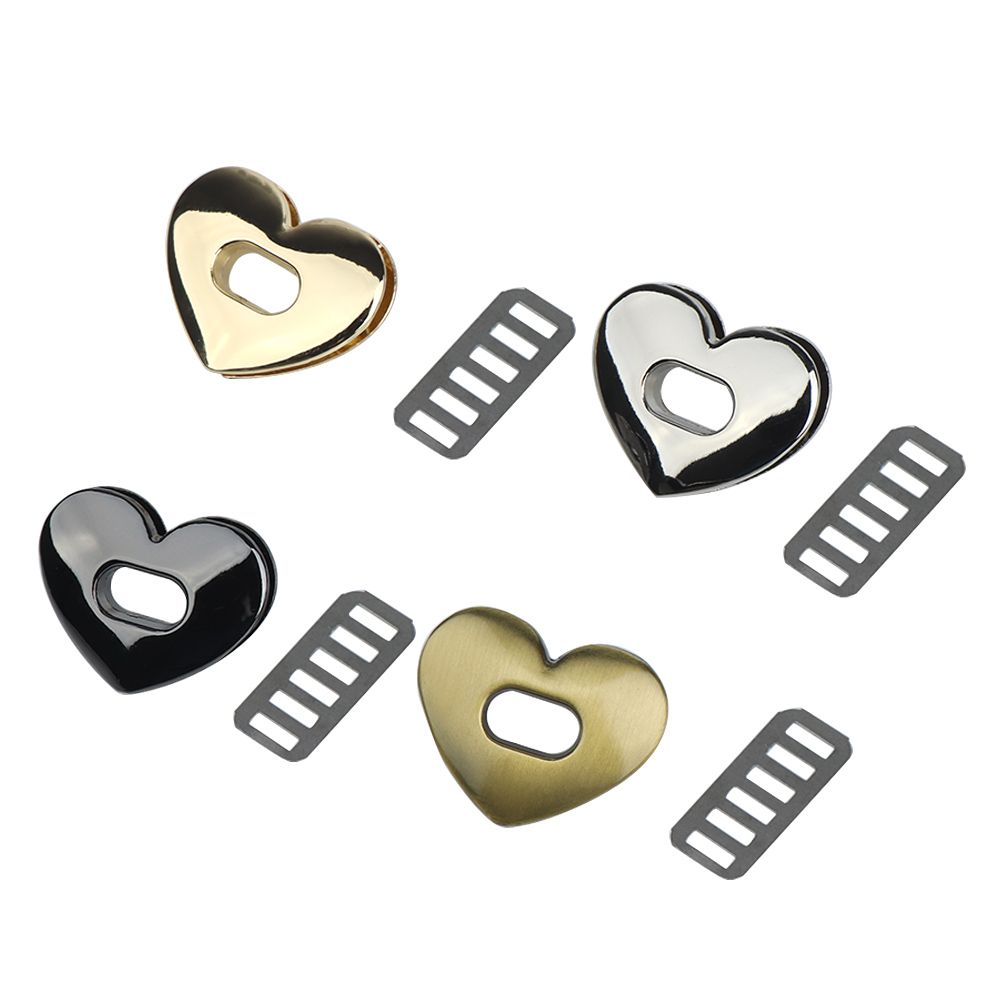 1Pc Love Shape Metal Clasp Turn Lock Twist Lock DIY Handbag Bag Purse Purse Hardware Closure Bag Clasp Part Accessories