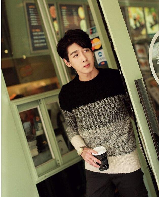 Градиент цвета с круглым вырезом пуловер, свитер для мужчин зимний тренд Свободные Винтаж термальность мужская одежда мужские свитера пуловер для мужчин - Цвет: m82 black