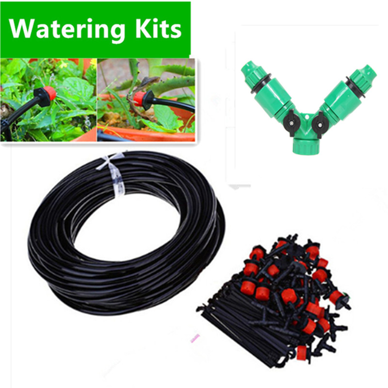 50M DIY Automatic Micro Drip Irrigation System Plant Watering Garden Hose Kits With Adjustable Dripper Smart