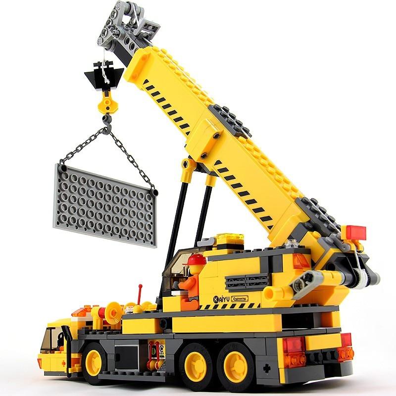 KAZI 8045 City Crane Lift Compatible Legoedly Technic Bricks Model Building Blocks Sets 380pcs DIY Kid Toys for Children kazi pirates ship building blocks sets black pearl diy model 652pcs bricks christmas gifts toys for children birthday