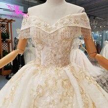 AIJINGYU 光沢のあるウェディング Dresseses リアルフォトささやかなブライダルインドセクシーな価格ビッグサイズの庭のウェディングドレスのアクセサリー