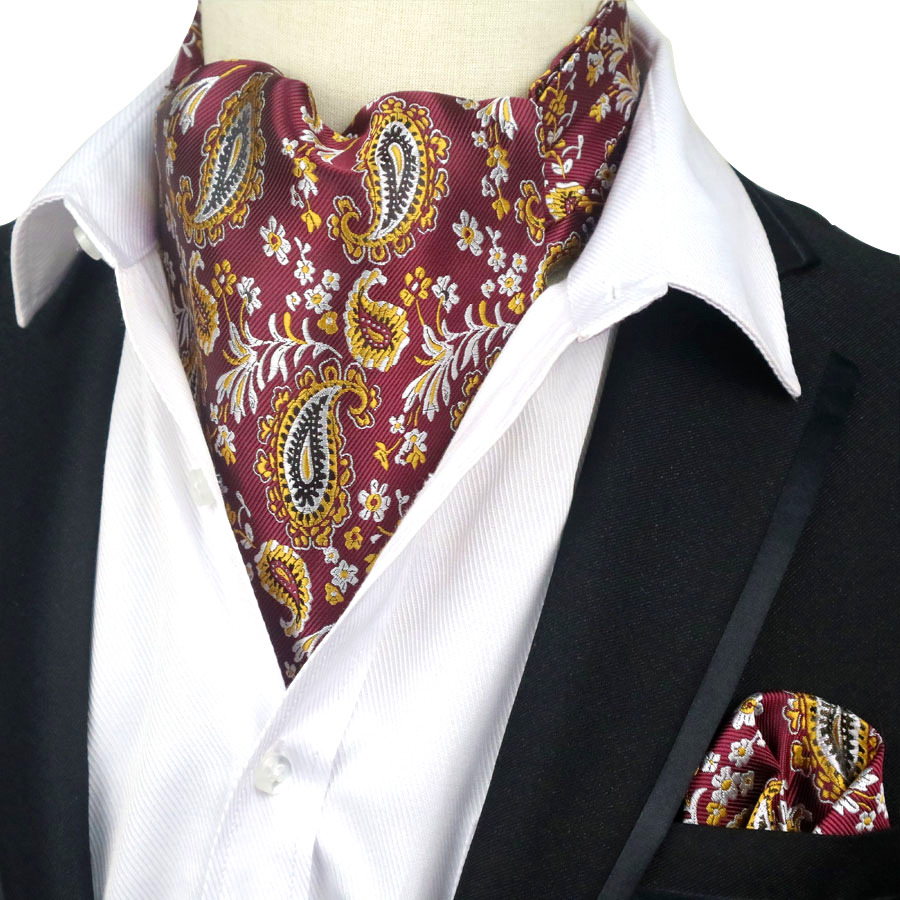YISHLINE Men's Luxury 100% Silk Ascot Cravat Tie Handkerchief  Set Floral Paisley Pocket Square Suit Set For Wedding Party