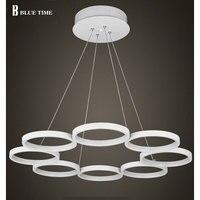 Modern LED 8 Ring Chandeliers White Finish Aluminum Living Room Hanging Lamp LED Chandelier Lustres
