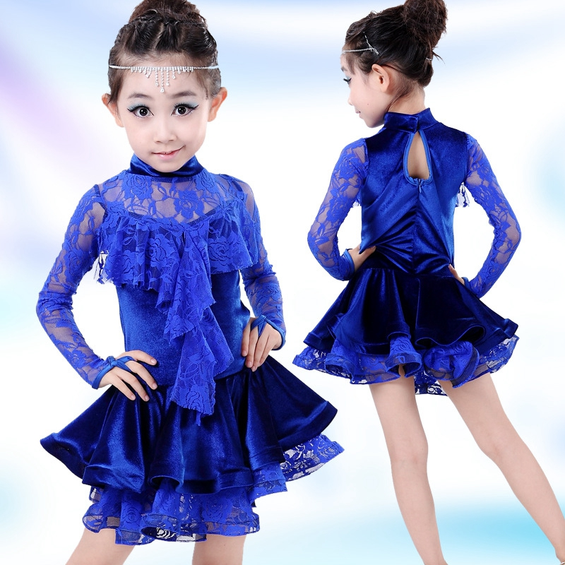 Children's Lace Velvet Latin Gymnastics Ballet Dance Girls Dress Tutu Leotard Skate Outfits Performance Dancewear Costumes girls gymnastics ballet dance tutu show skating dancewear party skating dress 2 8y kids leotard dress princess for 3 14y