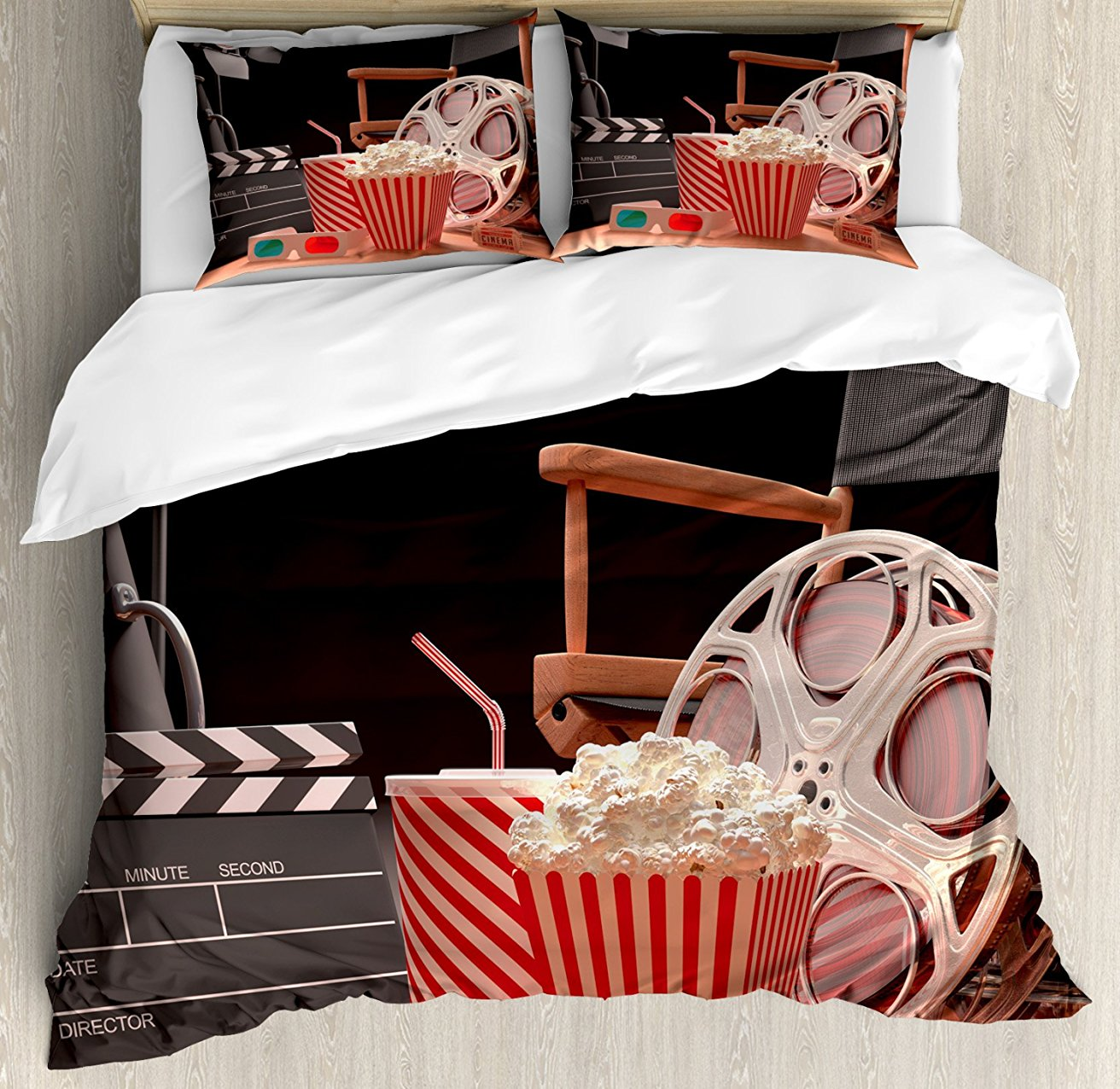 Movie Theater Duvet Cover Set Objects of the Film Industry Hollywood Motion Picture Cinematography Concept 4 Piece Bedding Set image