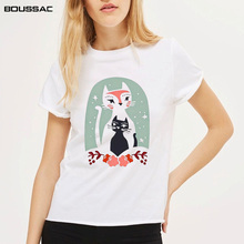 Harajuku White T Shirt Women Tops Punk Cartoon Cat Face Flower Print Tee Shirt Femme T-shirt Casual Tee Shirt O-neck Cotton Tops flower cluster print slub t shirt
