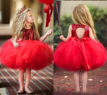 Red Tulle Ball Gown Flower Girls Dresses for Weddings with Ribbon Backless