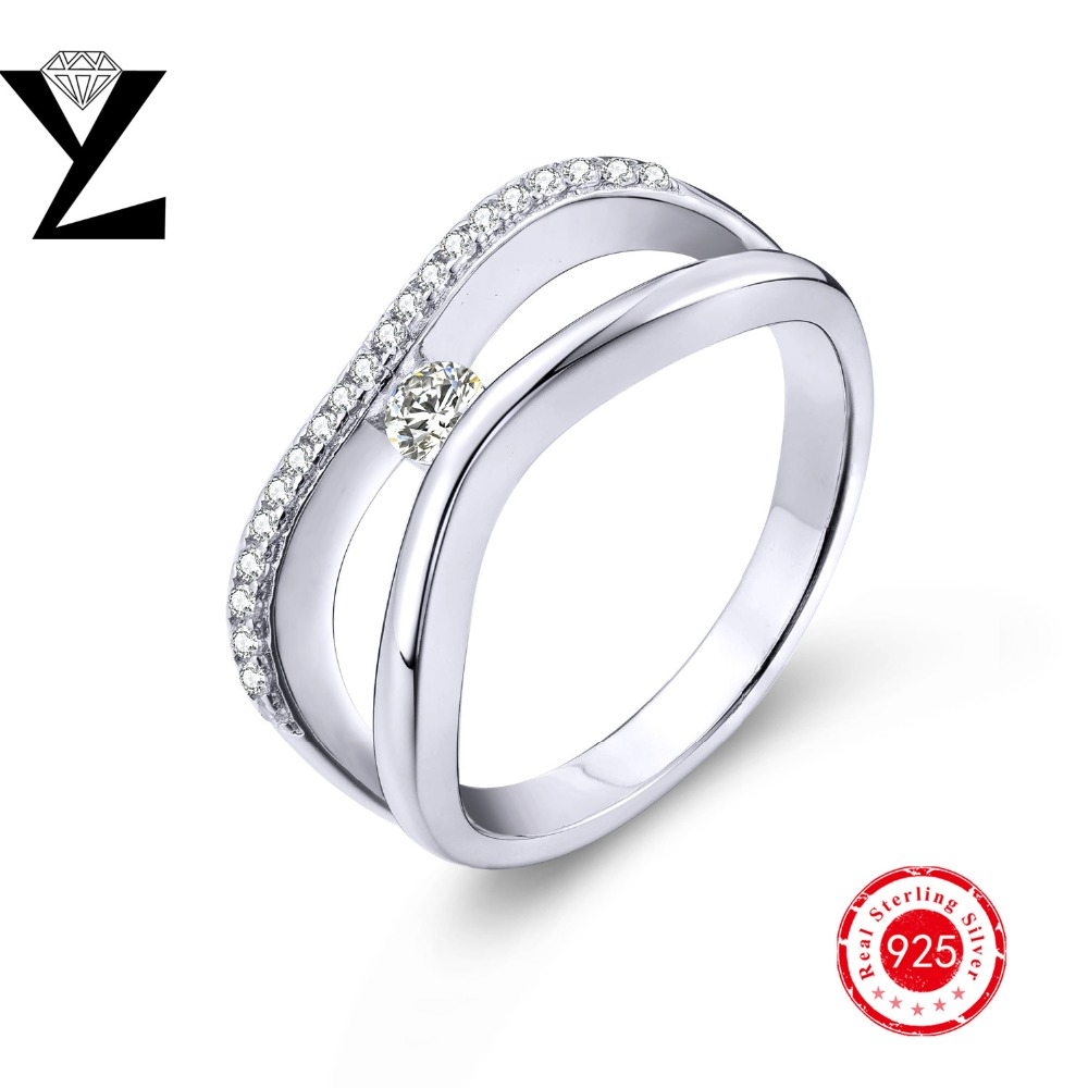 Bague Argent 925 Real Sterling Silver Finger Rings For Women Cz Diamond  Gold Plated Wedding Engagement