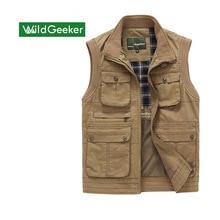 Wildgeeker мужские жилеты сплошной 100% хлопок без рукавов повседневный жилет куртка жилеты Армейский зеленый на молнии multi-карман плюс размер M-3XL