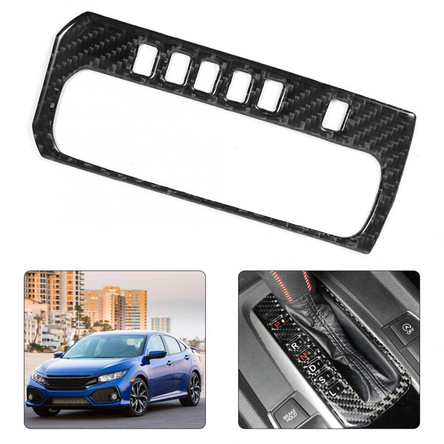 Carbon Fiber Car Interior Gear Shift Panel Frame Cover Trim for Honda Civic 2016 2017 2018 2019