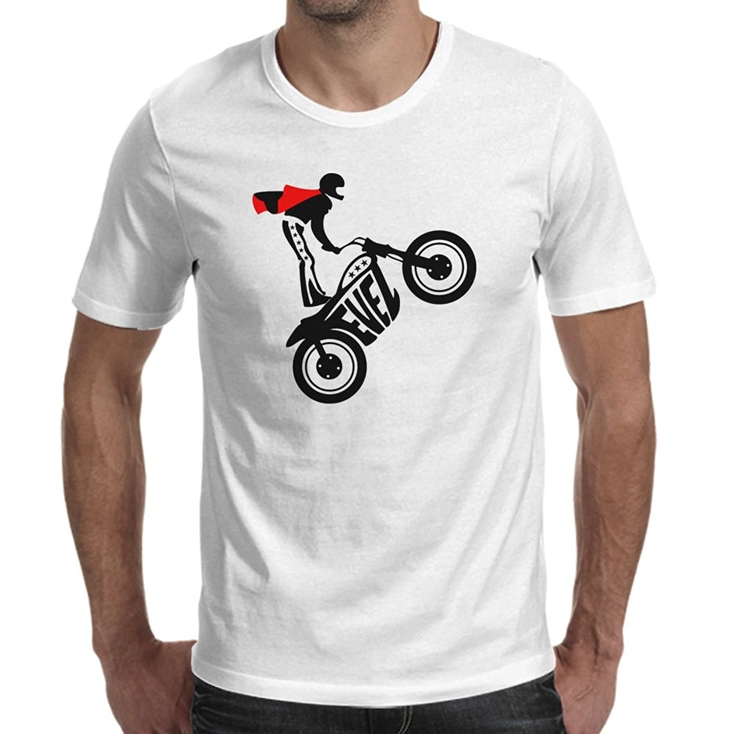 2017 New Brand Hot Sale 100 % Cotton Evel Knievel Motorcycle Cool Custom Fashion Tee Shirts Top Tees Free Shipping