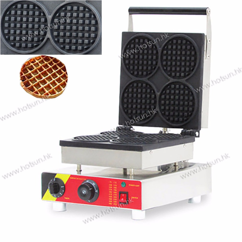 4-slice Commercial Use Non-stick 110V 220V Electric Belgium Liege Waffle  Machine Baker Maker Iron Mold Plate free shipping commercial use non stick 110v 220v electric 8pcs square belgian belgium waffle maker iron machine baker