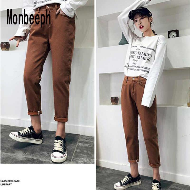 2019 Monbeeph брендовые джинсы женские свободные брюки джинсы с высокой талией женские черные розовые коричневые хаки летние популярные брюки женские