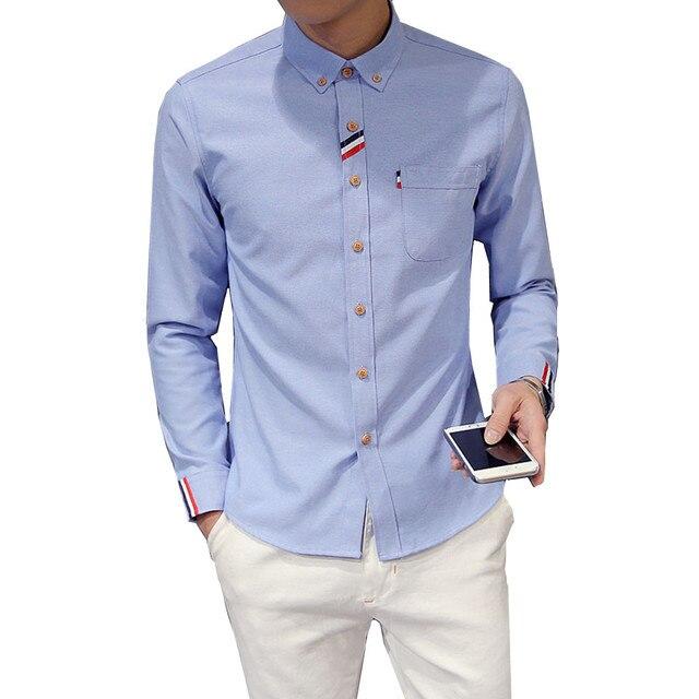 2018 Новая мода Для мужчин рубашка с длинным рукавом тенденция Slim Fit мужской корейской версии мода Повседневное одноцветное Цвет Оксфорд рубашки