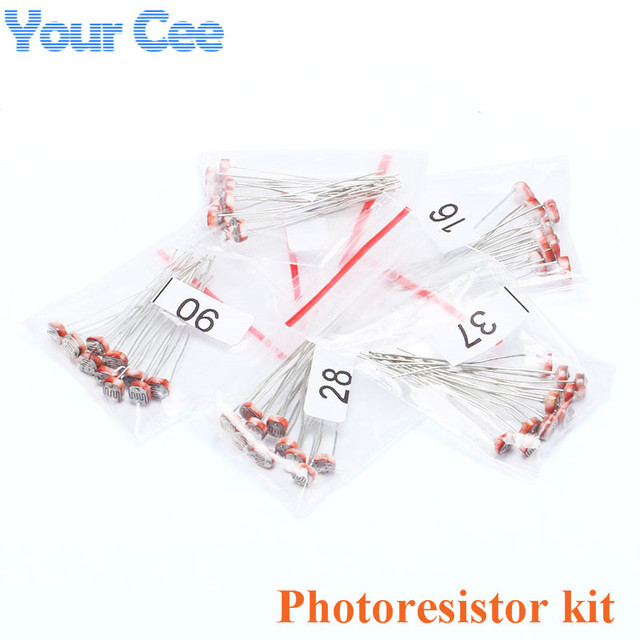 50 pcs (5 values * 10pcs) LDR Photo Light Sensitive Resistor ...